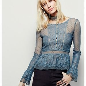 Free People Penelope peplum top lace xs